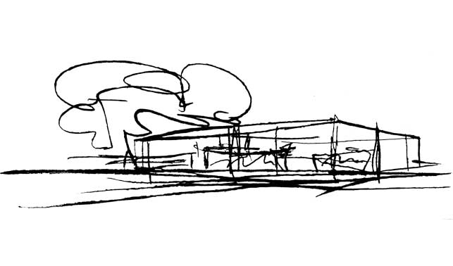 Sketch of Mies Van Der Rohe's 50 by 50 house design.